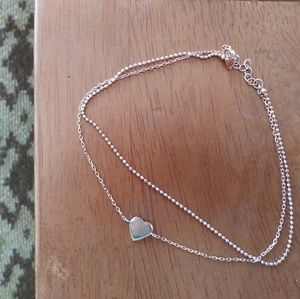 Sterling silver two layer heart anklet rose gold